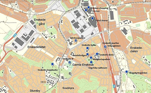 A map of the student´s lokal sites in Enskede, Stockholm Sweden.