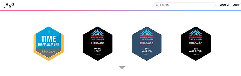 Four digital badges