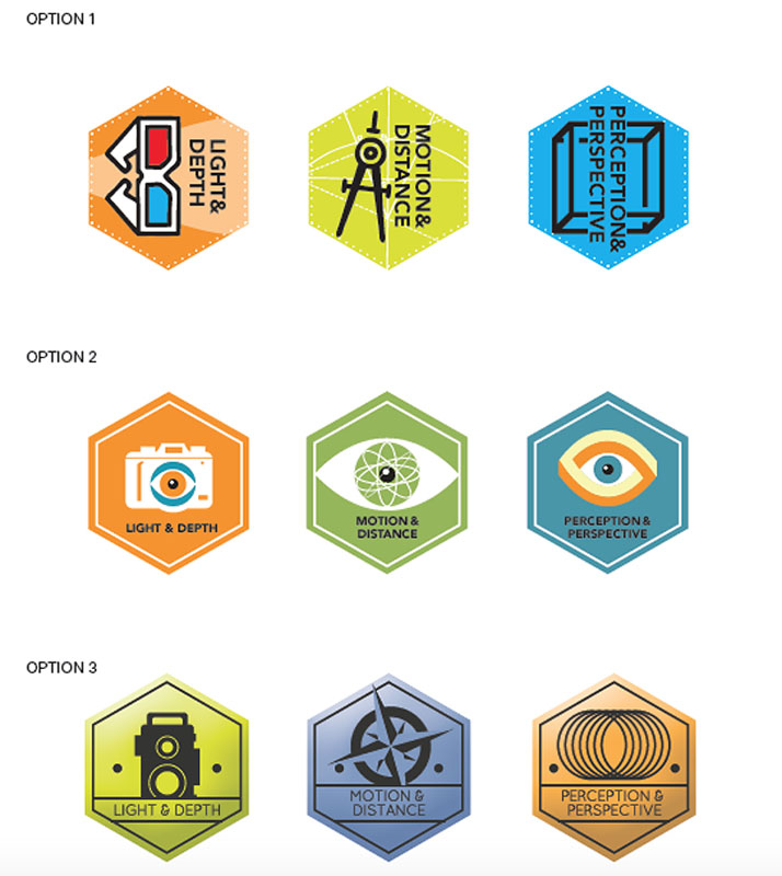 Nine digital badge designs