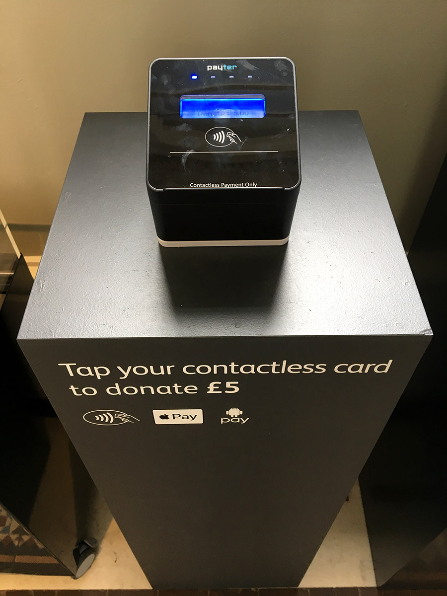 The Contactless donation station in the Galloway Hoard exhibition space