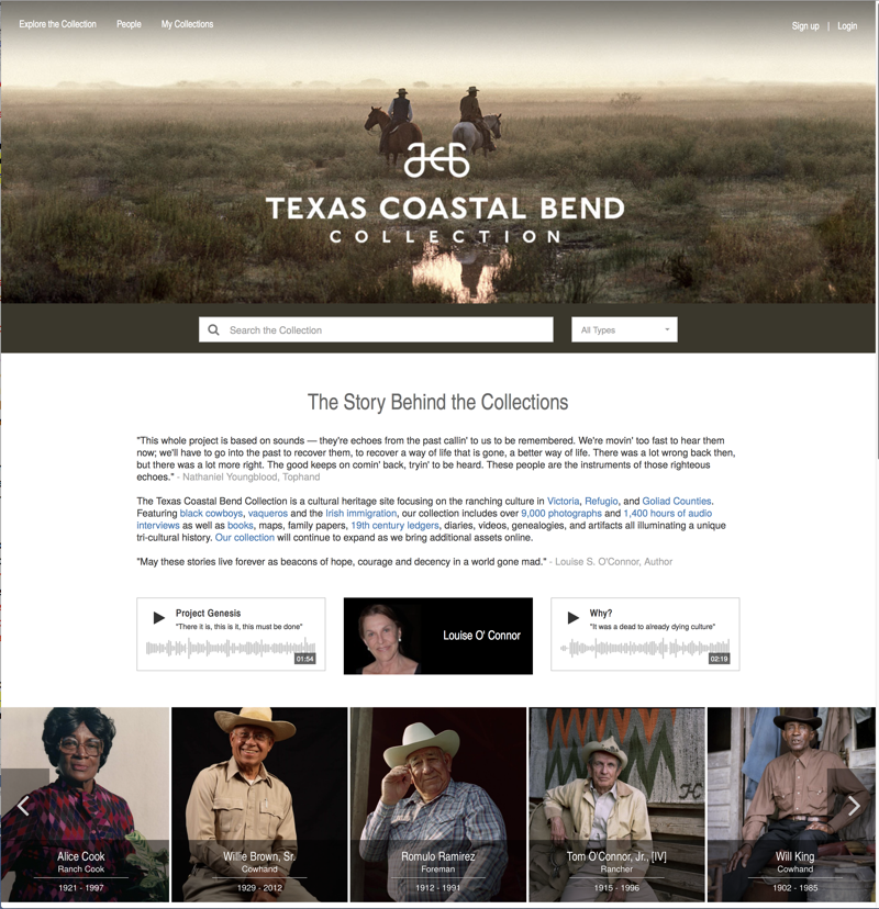 Figure 1: Texas Coastal Bend Collection homepage; http://texascoastalbend.org