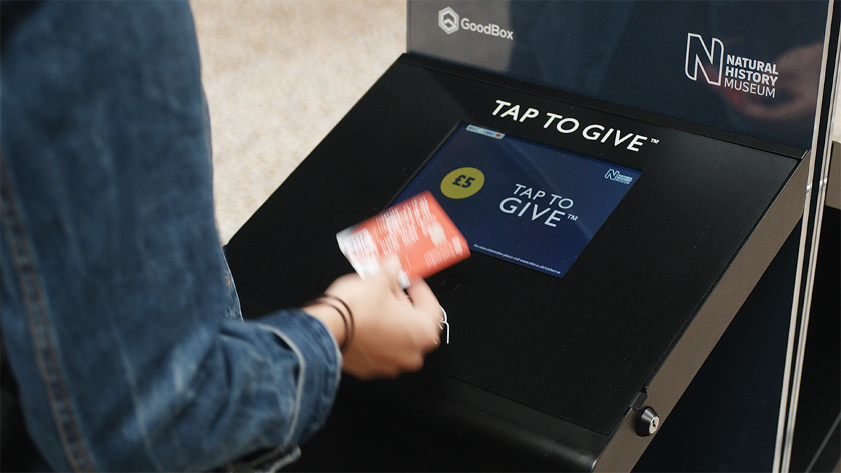Contactless donation kiosks at the National History Museum, London