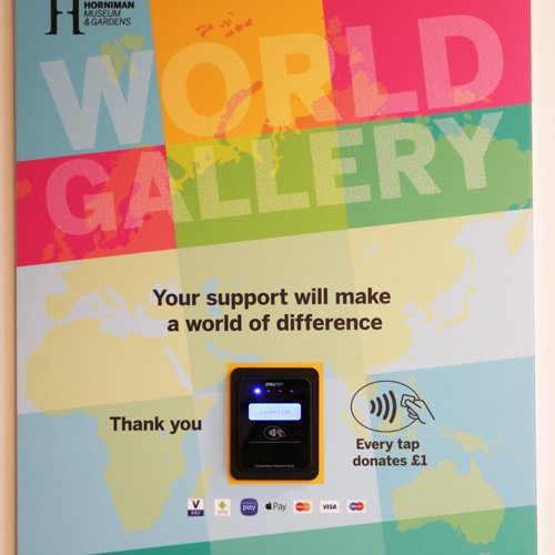 Contactless terminal raising funds for the new World Gallery at the Horniman Museum, London