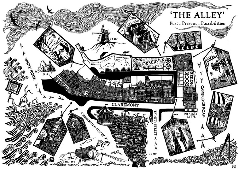 Black and white artist illustration of map