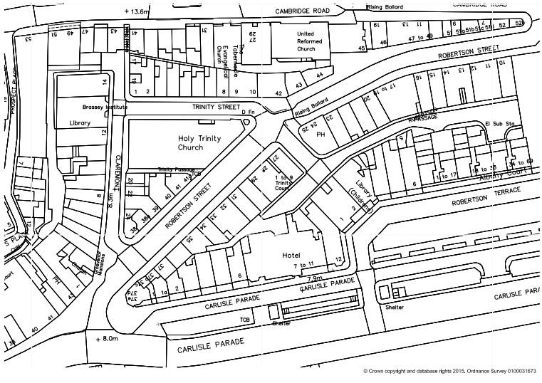 Map in black and white showing streets and buildings