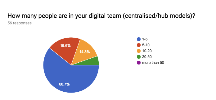 Figure 7: responses to the survey question 'How many people are in your digital team?'