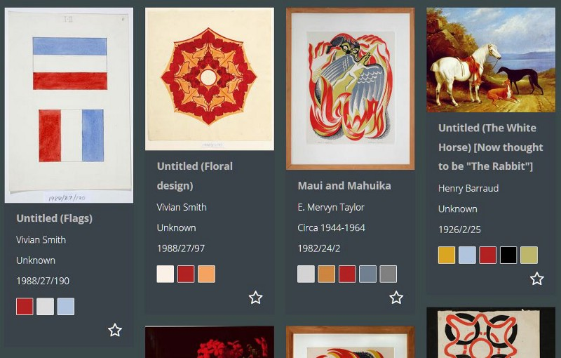 Fig 3. Colour swatches in search results. Swatches for the dominant colours appear below the artwork details and can be clicked to view all works containing the same colour.