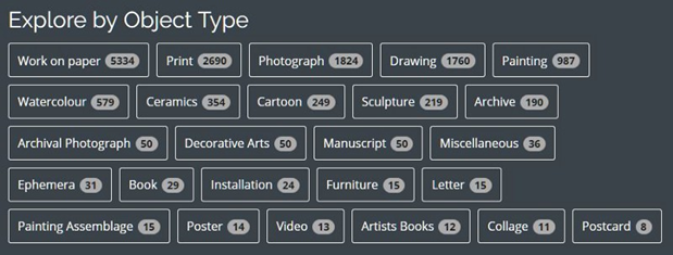 Fig 7. The object type tag cloud on the home page gives a count of how many works fall into each category