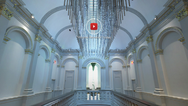 Screenshot showing white arches along central atrium of Renwick Gallery, with silvery light sculpture in center