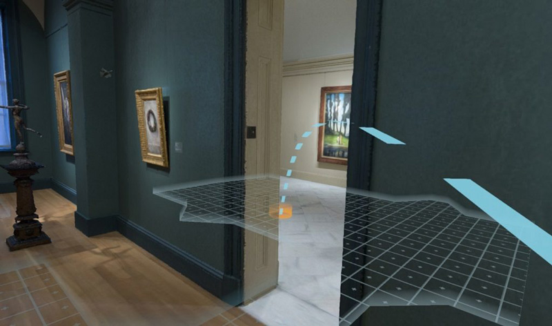 Screenshot showing navigational grid along simulation of the museum's wooden floor