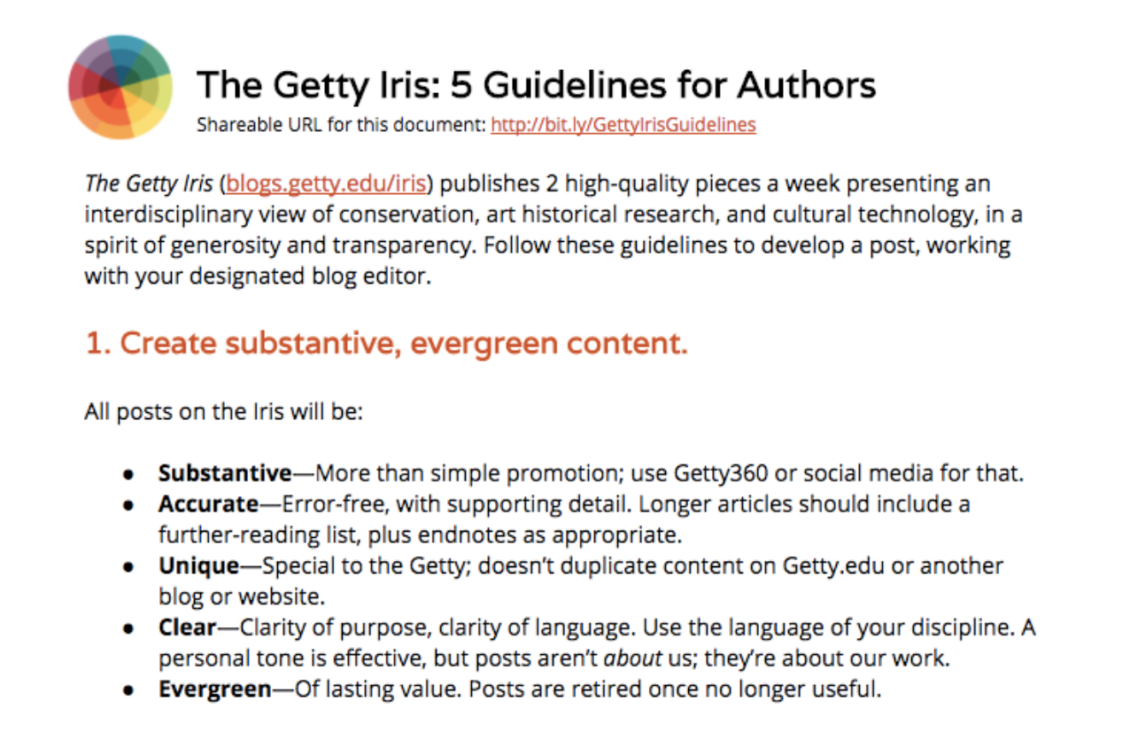 Screenshot of The Getty Iris: 5 Guidelines for Authors