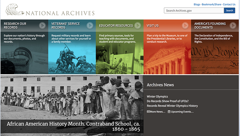 Homepage of Archives.gov