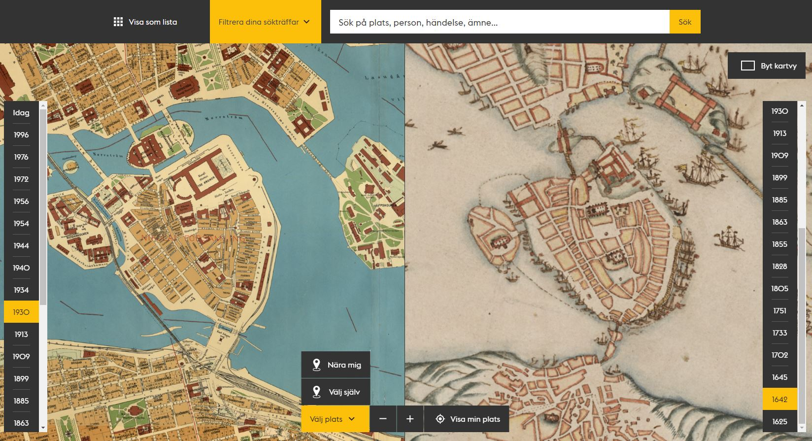 Two old maps of Stockholm.