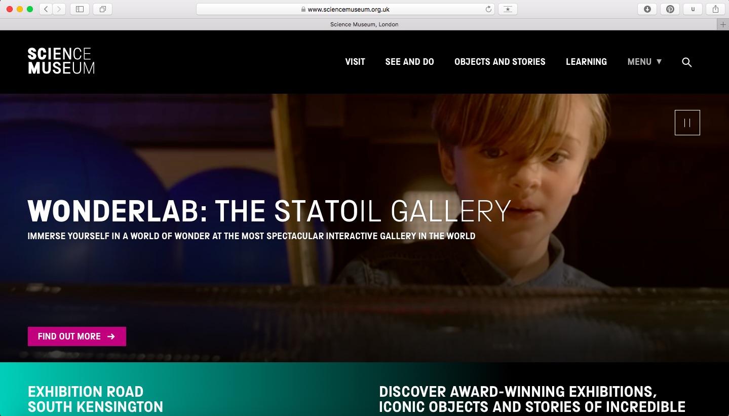 Science Museum website screenshot