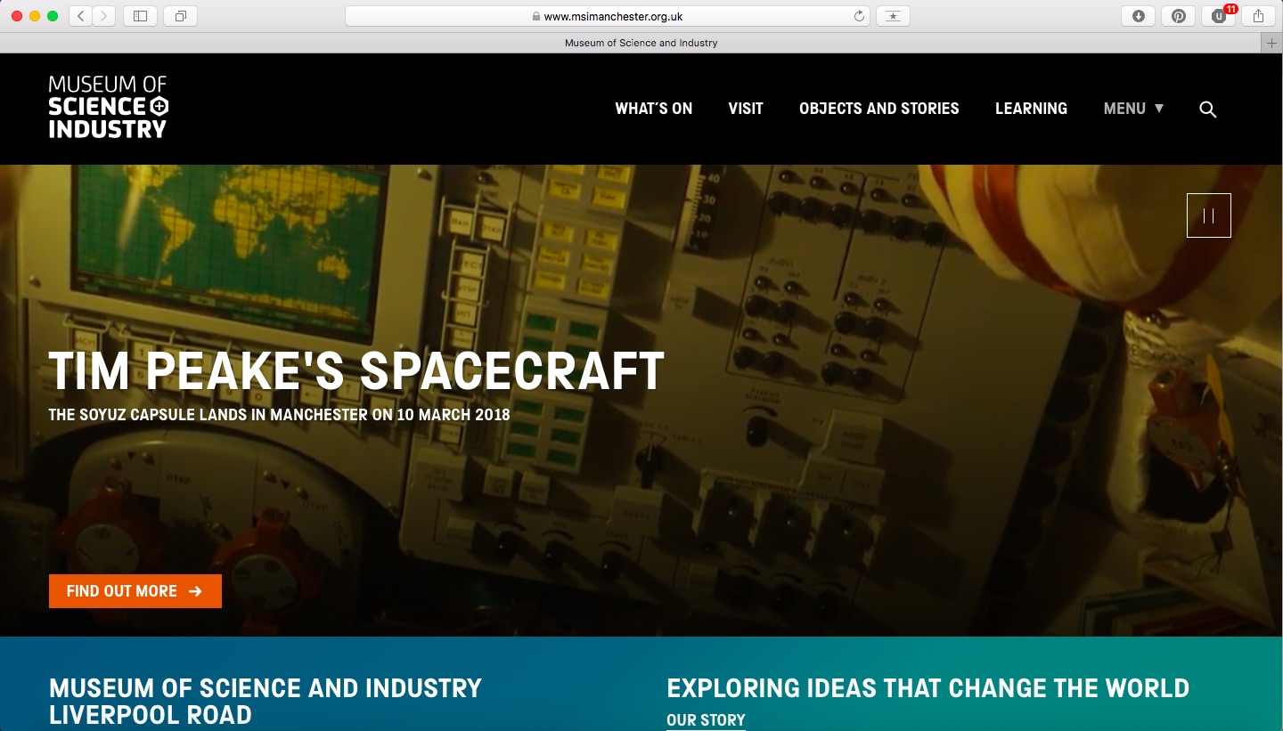 Museum of Science and Industry website screenshot