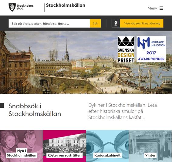 Stockholmskällan's landing page